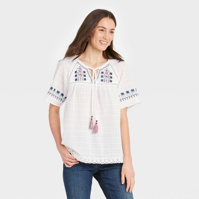 Women's Short Sleeve Embroidered Top with Tassels - Knox Rose™ White
