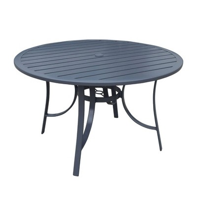 """Santa Fe 48"""" Round Aluminum Dining Table with Slat Top - Silver - Courtyard Casual"""