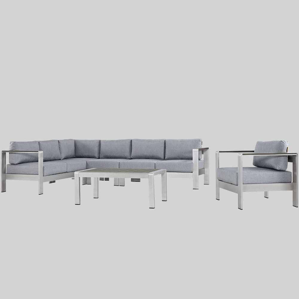 Shore 6pc Outdoor Patio Aluminum Sectional Sofa Set - Gray - Modway
