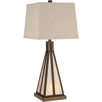 Franklin Iron Works Rustic Industrial Table Lamp with USB Port Nightlight Oiled Bronze Mica Tapered Rectangular Burlap Living Room