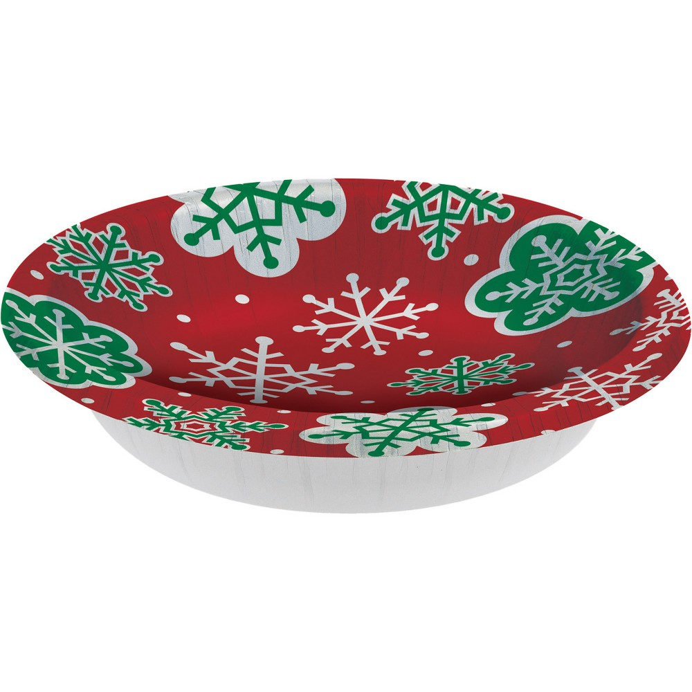 8ct Red and Green Snowflakes Paper Bowls