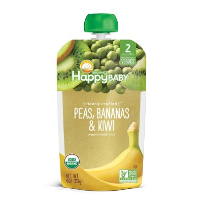 HappyBaby Clearly Crafted Peas Bananas & Kiwi Baby Food Pouch - 4oz