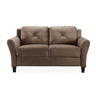 Harper Tufted Microfiber Loveseat Brown - Studio Living