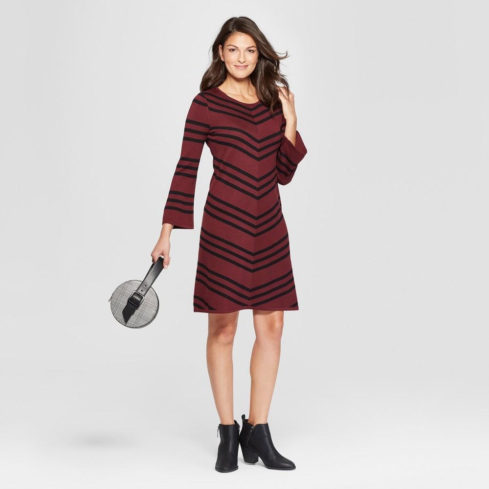 Women's Chevron Swing Sweater Dress - Spenser Jeremy - Burgundy/Black M, Multicolored