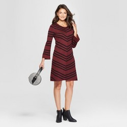660035262ad3c Women's Chevron Swing Sweater Dress - Spenser Jeremy - Burgundy/Black