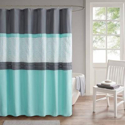 Merissi Shower Curtain with Liner Aqua/Gray