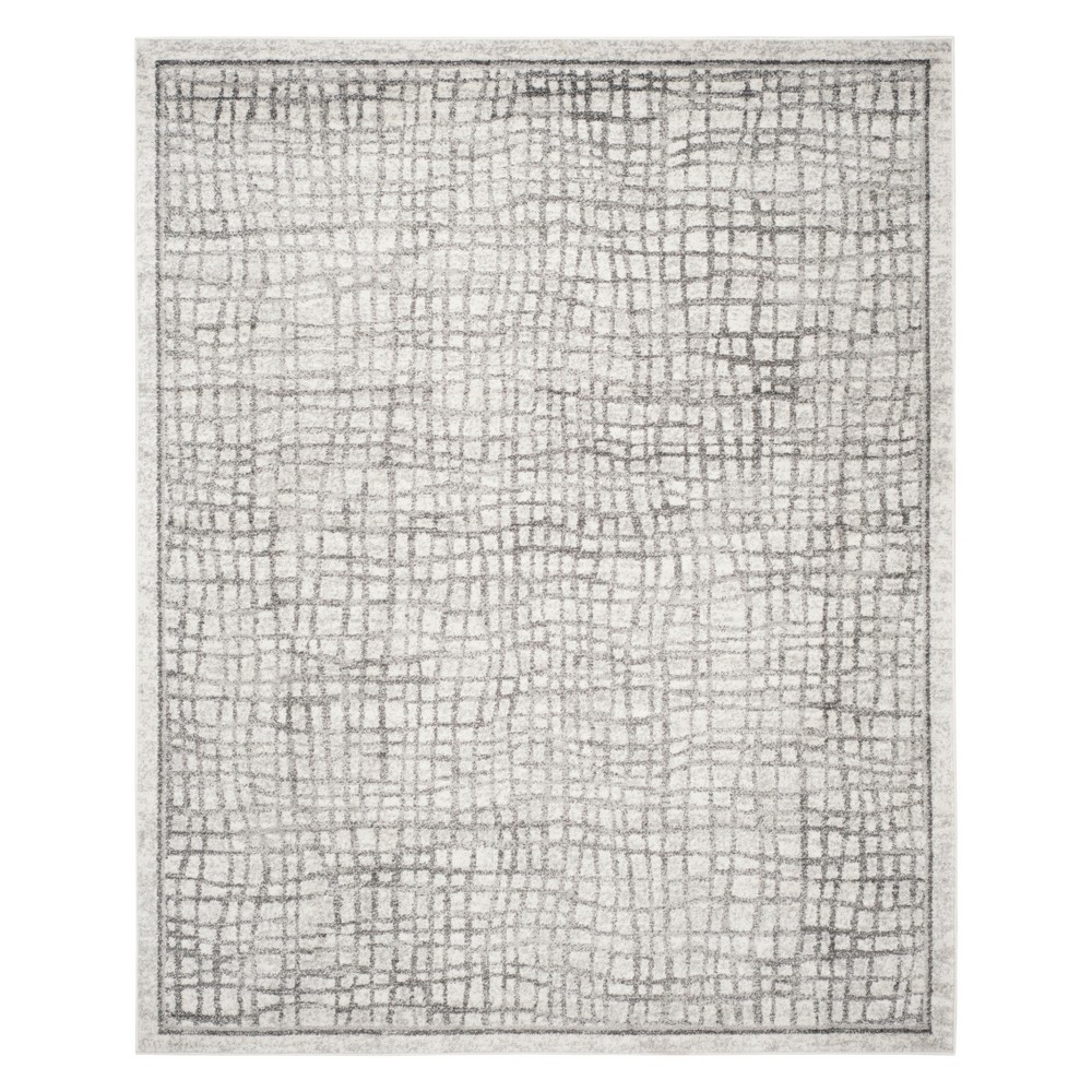 Crosshatch Area Rug Silver/Ivory