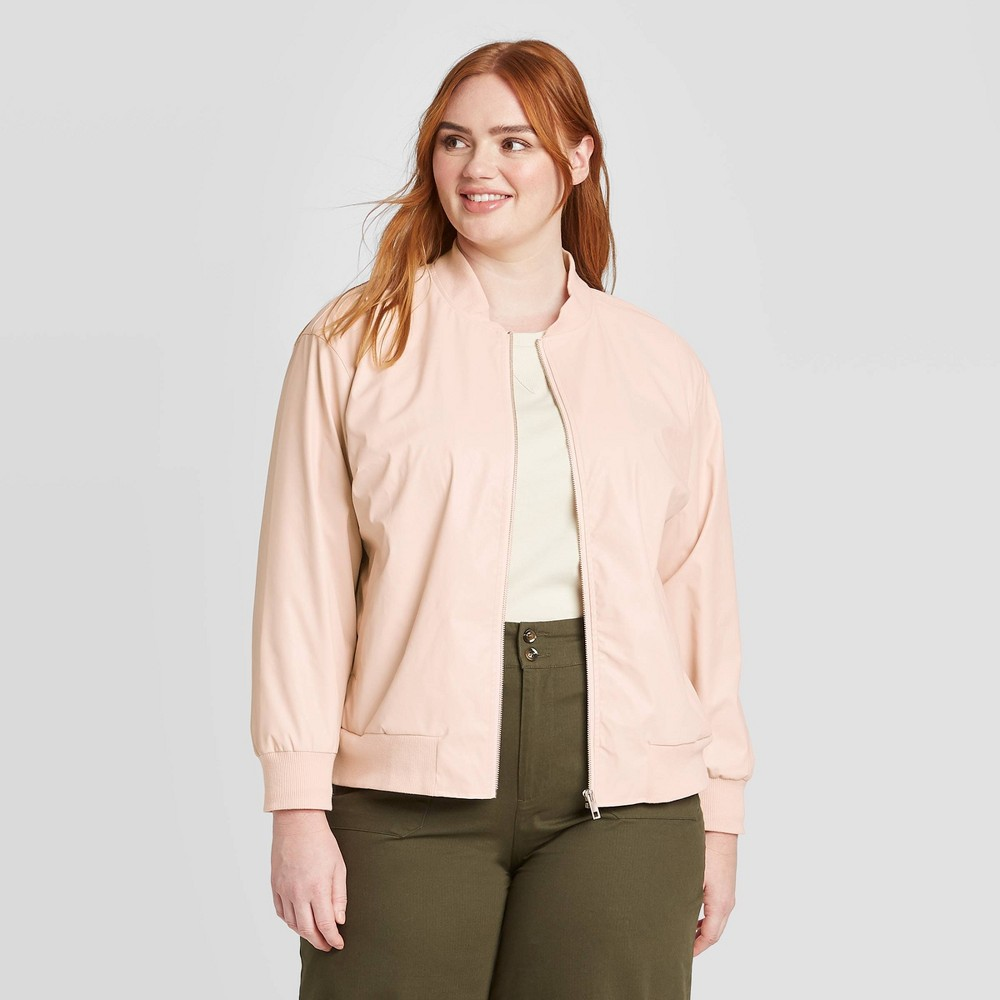 Women's Plus Size Long Sleeve Faux Leather Bomber Jacket - Who What Wear Peach 4X, Women's, Size: 4XL, Pink was $54.99 now $38.49 (30.0% off)