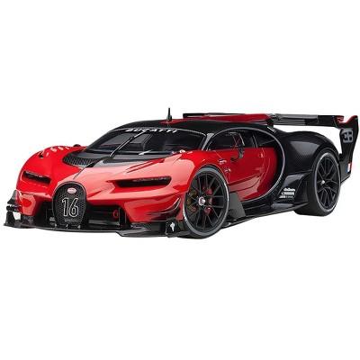 """Bugatti Vision Gran Turismo """"16"""" Italian Red and Black Carbon 1/18 Model Car by Autoart"""
