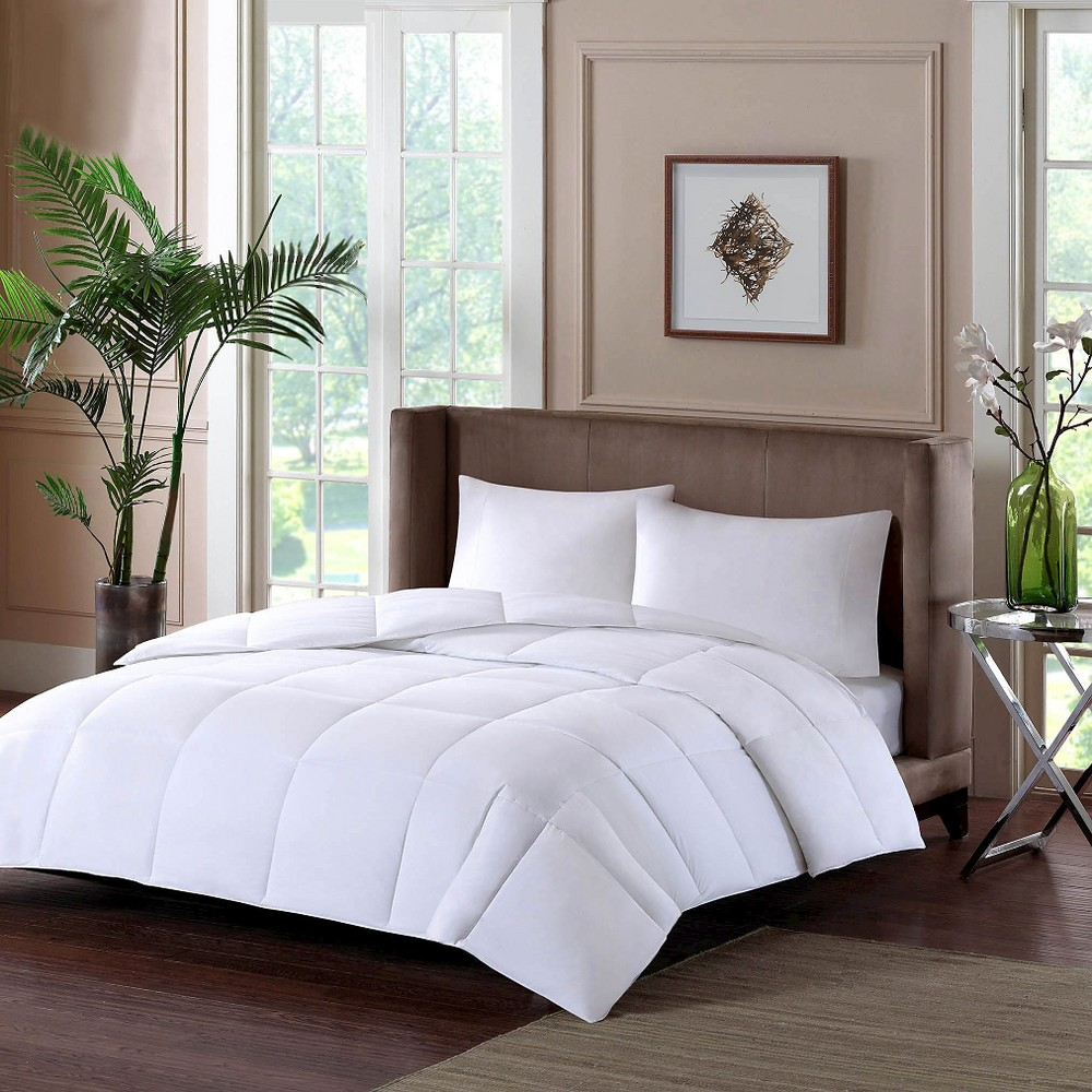 Image of Cotton Sateen Down Alternative Comforter Level 1 Warm 3M Thinsulate Year Round Warmth (Twin) White