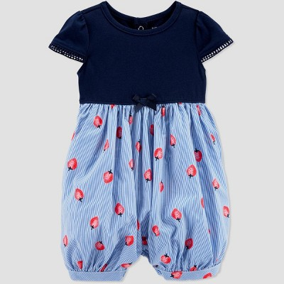 Baby Girls' Strawberry Romper - Just One You® made by carter's Blue 24M