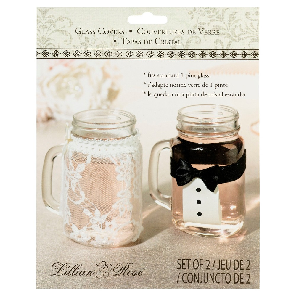 Image of Bride and Groom Glass Covers, Clear