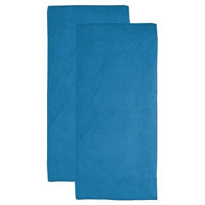 "2pk 16""X24"" Microfiber Dish Towel Royal Blue - Mu Kitchen"