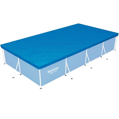Bestway 58107 Flowclear Pro Rectangular Above Ground Swimming Pool Cover, Blue - image 1 of 4