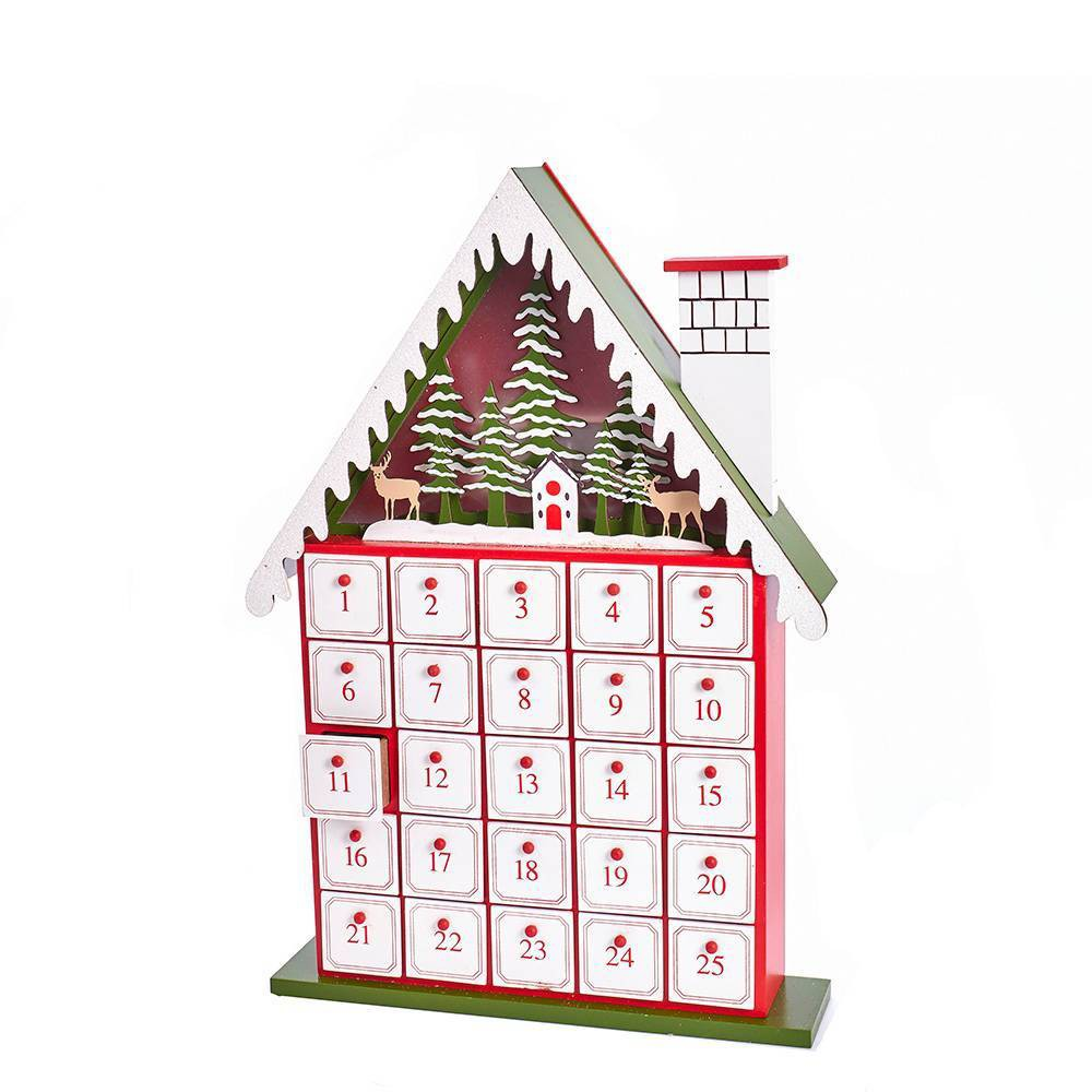 "Image of ""Kurt Adler 15.5"""" Battery Operated Lit House Advent Calendar"""