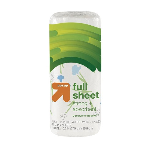 Full Sheet Printed Paper Towels - 1 Regular Roll - (Compare to Bounty) - Up&Up™ - image 1 of 1