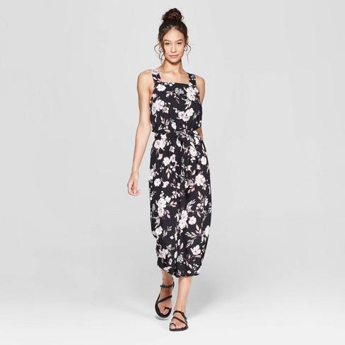 e81d45995b4e Women s Floral Print Strappy Square Neck Waist Tie Jumpsuit - Xhilaration™  Black
