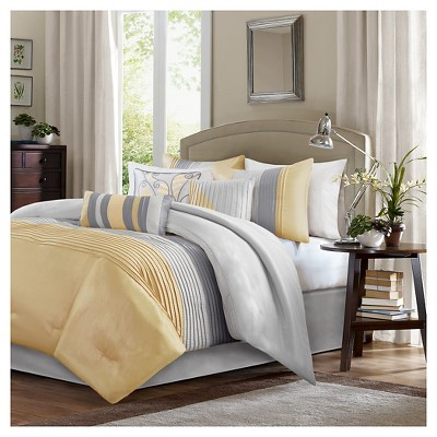 Salem Pleated Colorblock Comforter Set (Queen)Yellow - 7pc