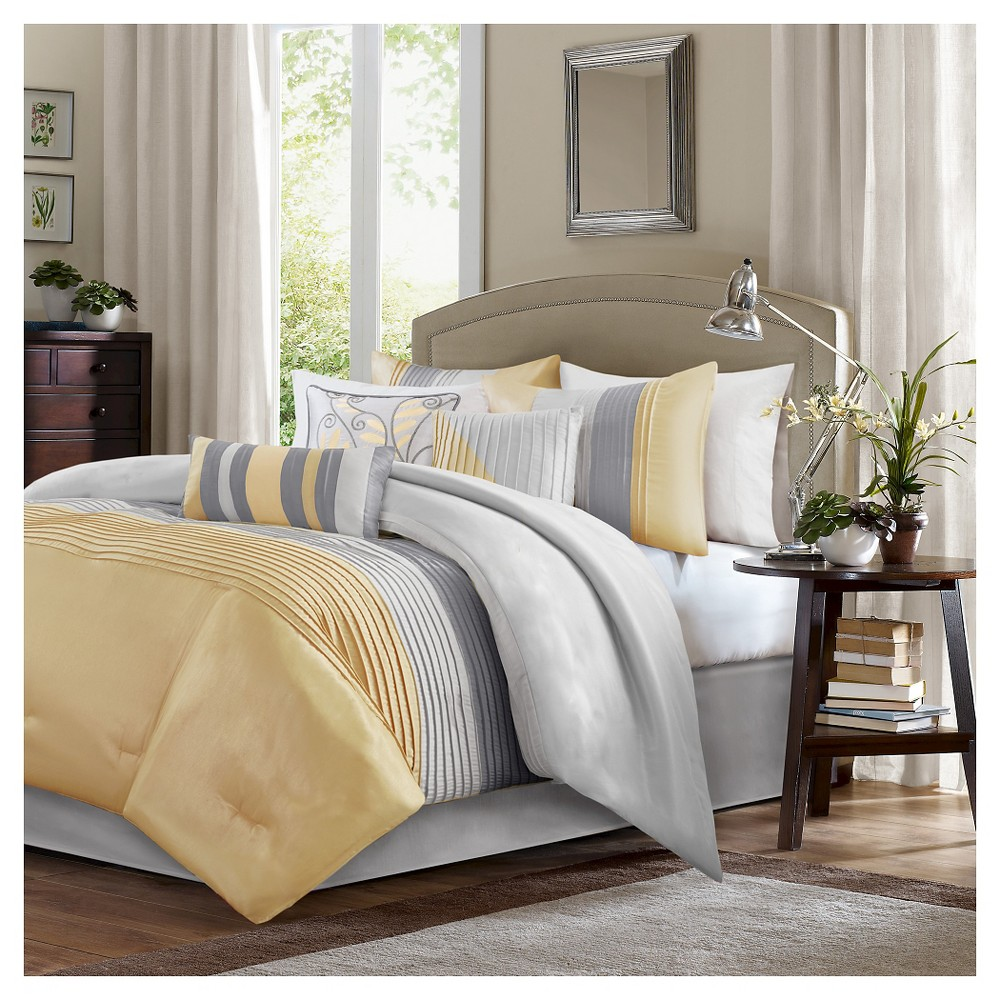 Salem Pleated Colorblock Comforter Set (California King) Yellow - 7pc