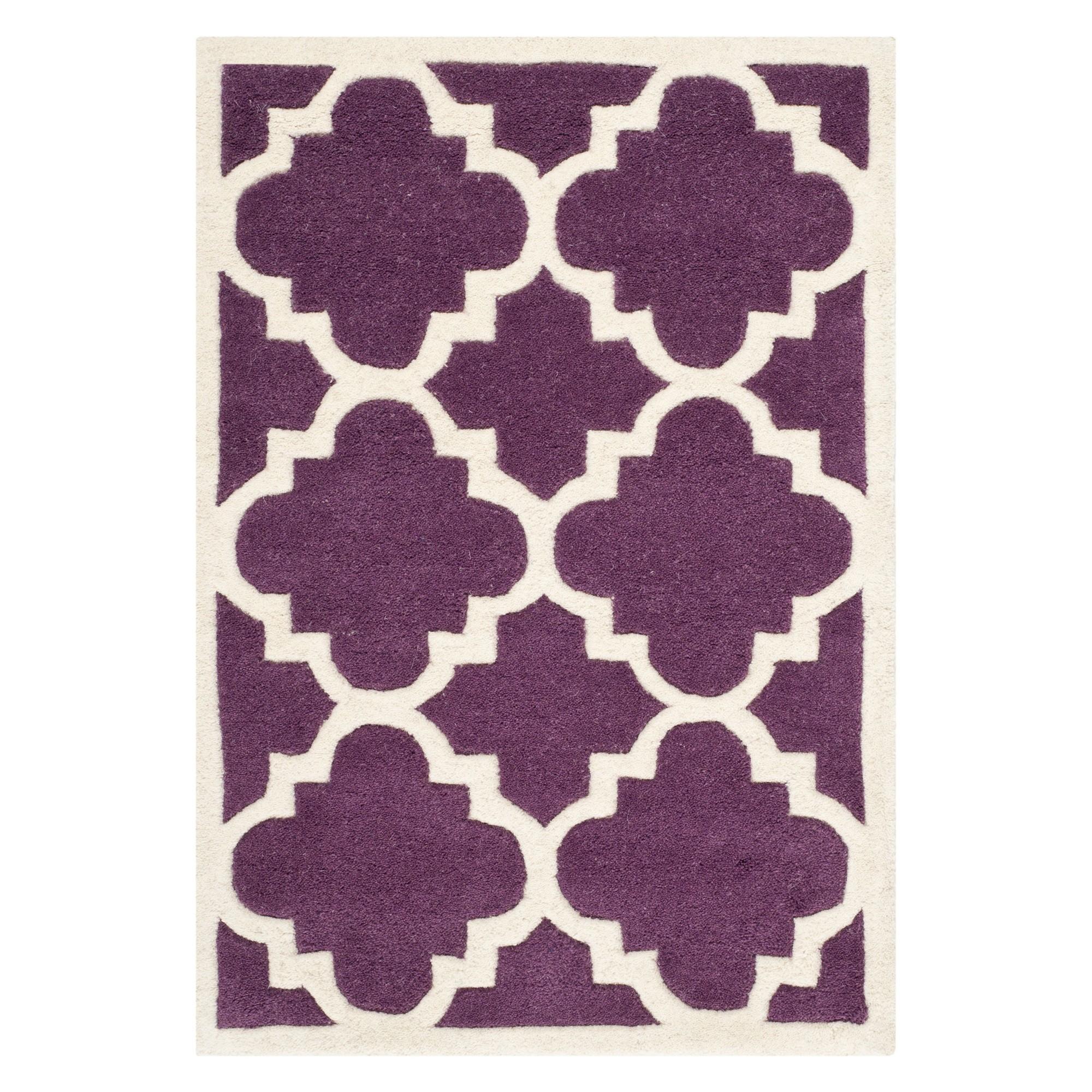 2'X3' Quatrefoil Design Tufted Accent Rug Purple/Ivory - Safavieh