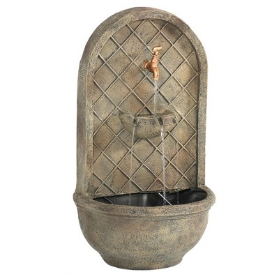 "26"" Messina Outdoor Wall Water Fountain with Electric Submersible Pump - Florentine Stone - Sunnydaze Decor"