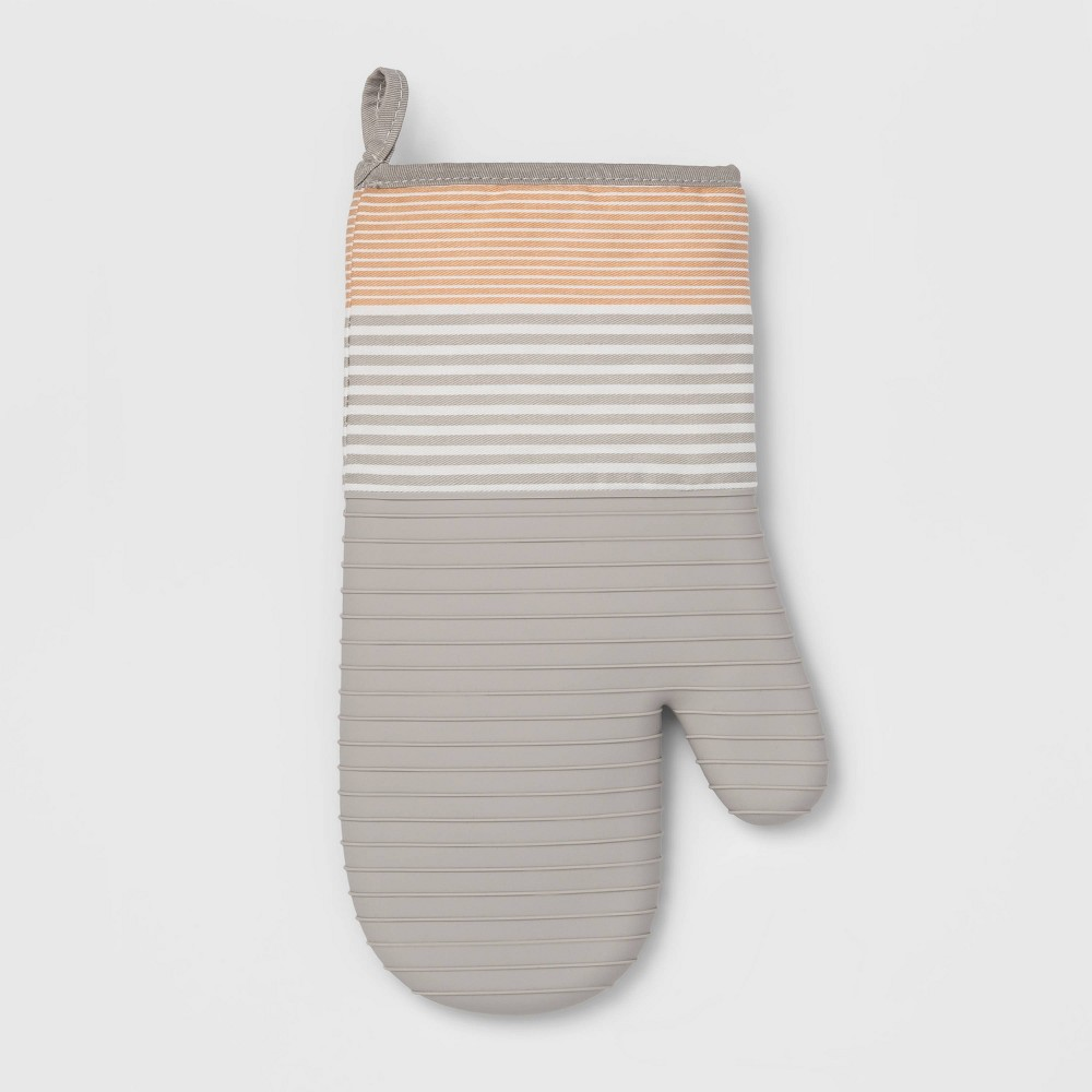 Image of Stripe Silicone Oven Mitt Taupe - Project 62