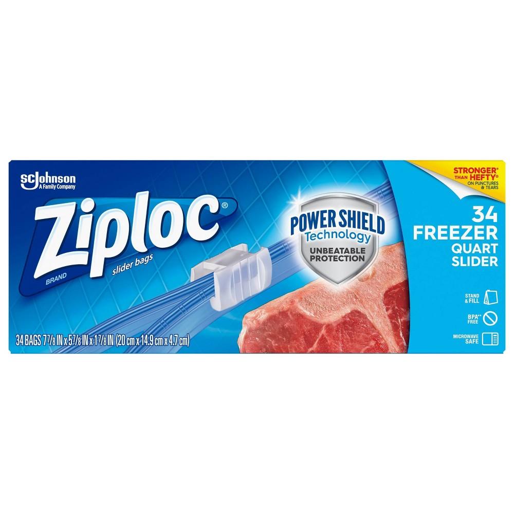 Ziploc Freezer Quart Slider Bags Quart 34ct