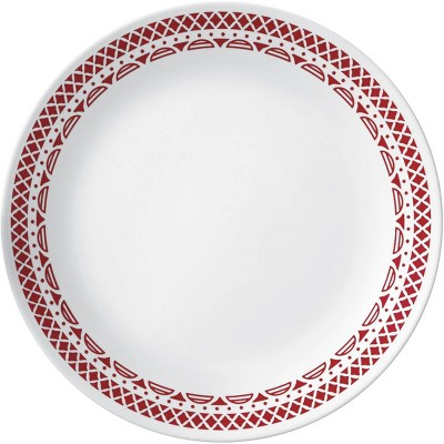"Corelle 10.3"" Glass Cordoba Dinner Plate Red/White"
