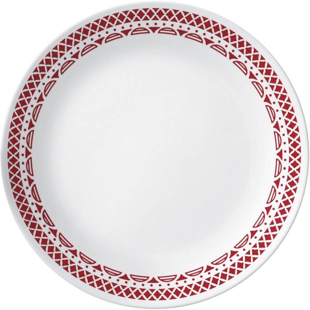 "Image of ""Corelle 10.3"""" Glass Cordoba Dinner Plate Red/White"""