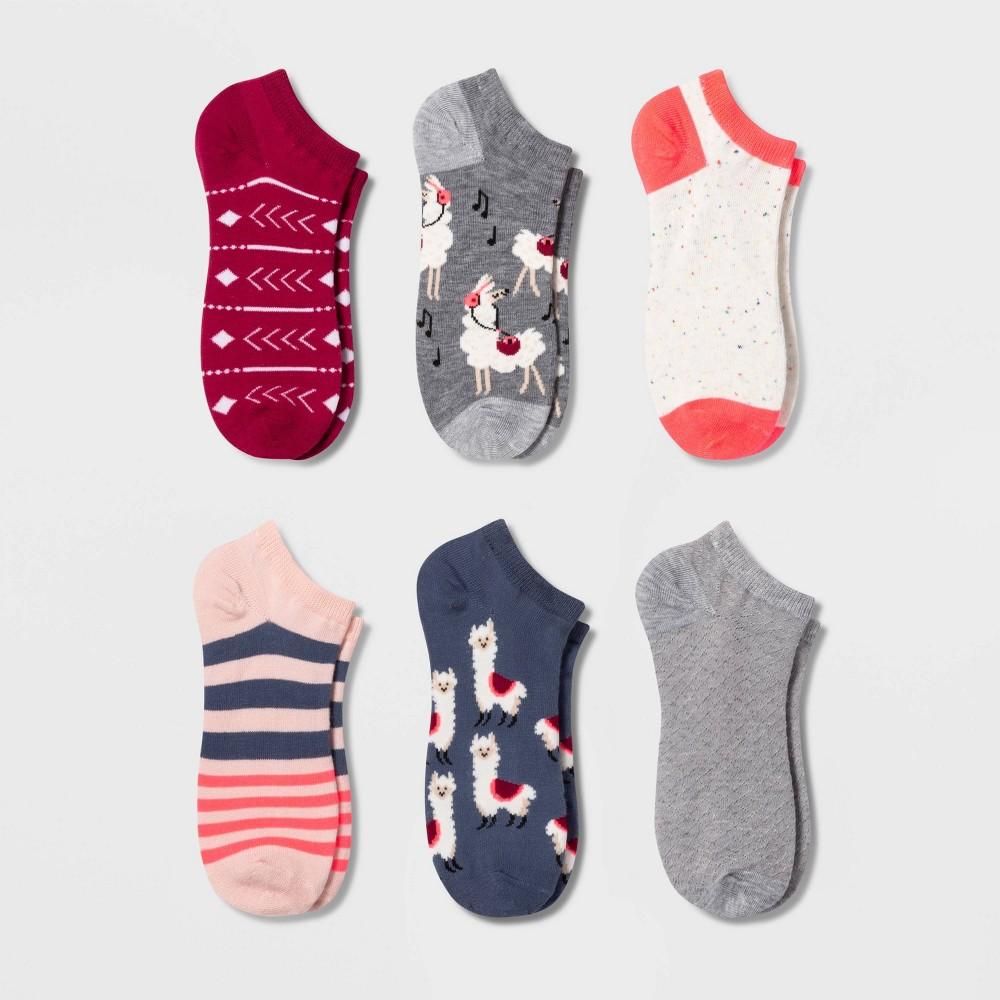 Women 39 S Llama 6pk Low Cut Socks Xhilaration 8482 Gray Pink Navy 4 10