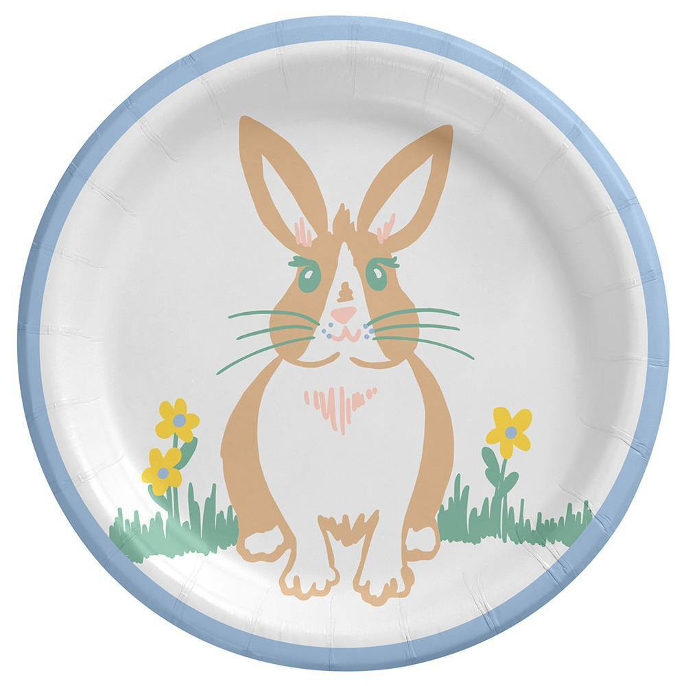 6 75 34 15ct Bunny Snack Plates Disposable Dinnerware Spritz 8482