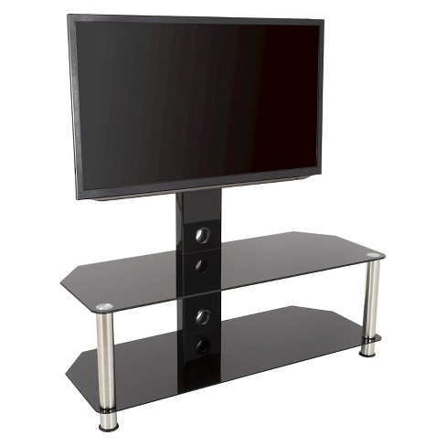 Tv Stand With Mounting Column And Cable Management 65 Silver Black Avf Target