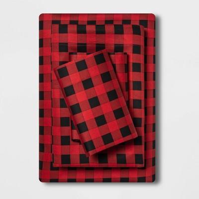 Queen Holiday Print 100% Cotton Sheet Set Buffalo Check - Wondershop™