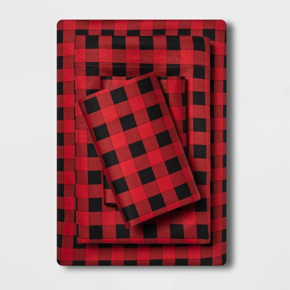 Full Holiday Print 100 Cotton Sheet Set Buffalo Check Wondershop 8482