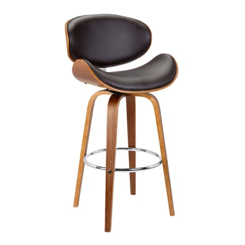 26 Solvang Mid Century Swivel Counter Height Barstool In Brown Faux Leather With Walnut Wood Armen Living Target