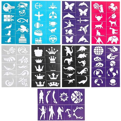 Bright Creations 110 Designs Face & Body Paint Stencils for Kids, Reusable Temporary Tattoos Templates