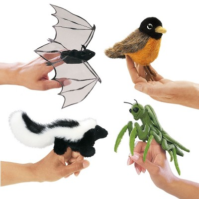 Folkmanis Mini Puppets Nature Birds, Animals and Bugs - Set of 4