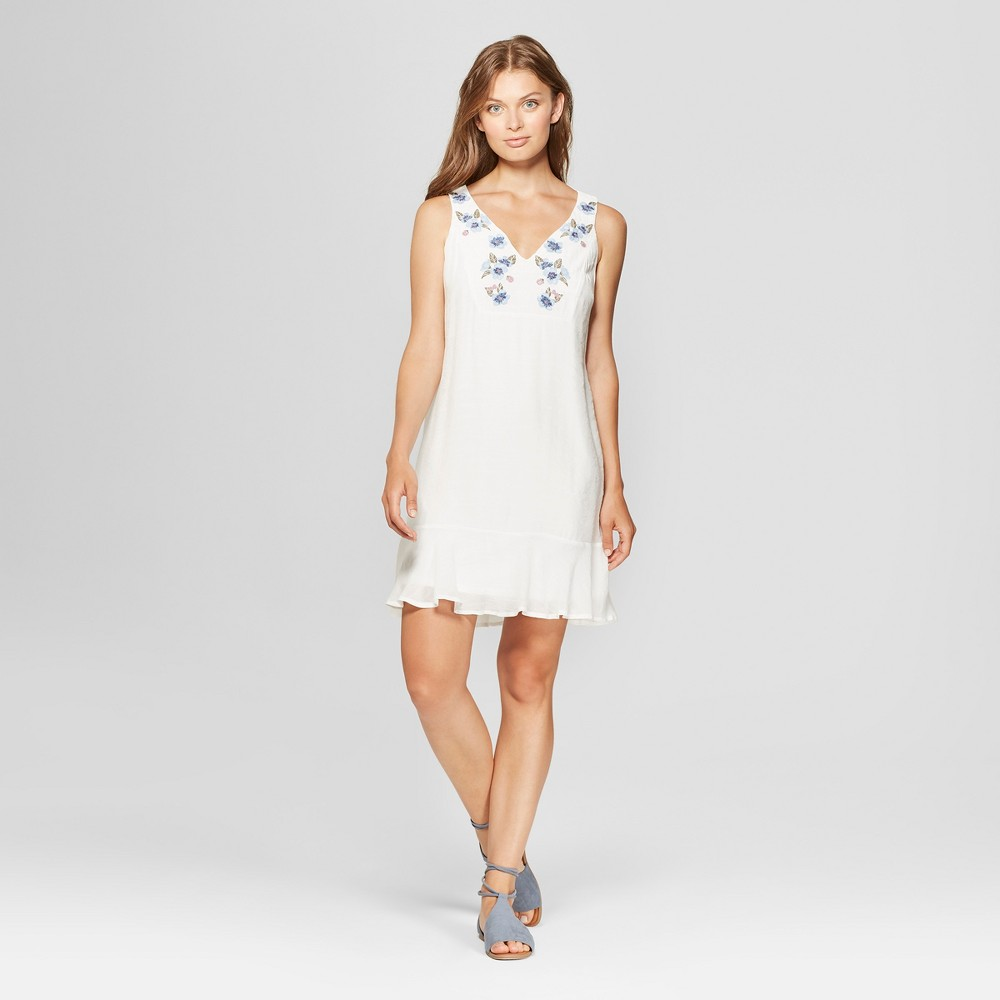 Women's Sleeveless Embroidered Flounce Hem Shift Dress - Lux II - White 14