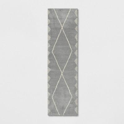 1'10 X7' Woven Diamond Runner Rug Gray - Project 62™