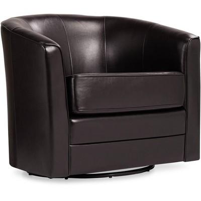 Studio 55D Keller Espresso Bonded Leather Swivel Club Chair