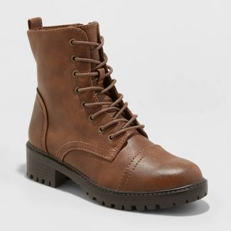 Women's Kamryn Faux Leather Combat Boot - Universal Thread™ Brown 10