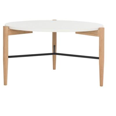 Thyme Round Coffee Table   White / Oak   Safavieh®