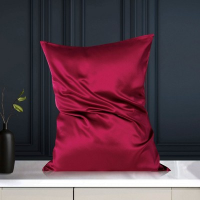 Standard/20x26inch Silk 19 Momme with Zipper Pillow Cases Bright Red - PiccoCasa