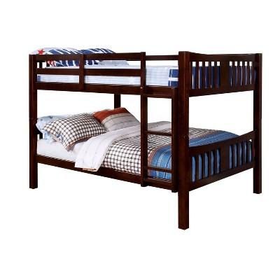 Twin Over Twin Kids' Clare Bunk Bed Dark Walnut - ioHOMES