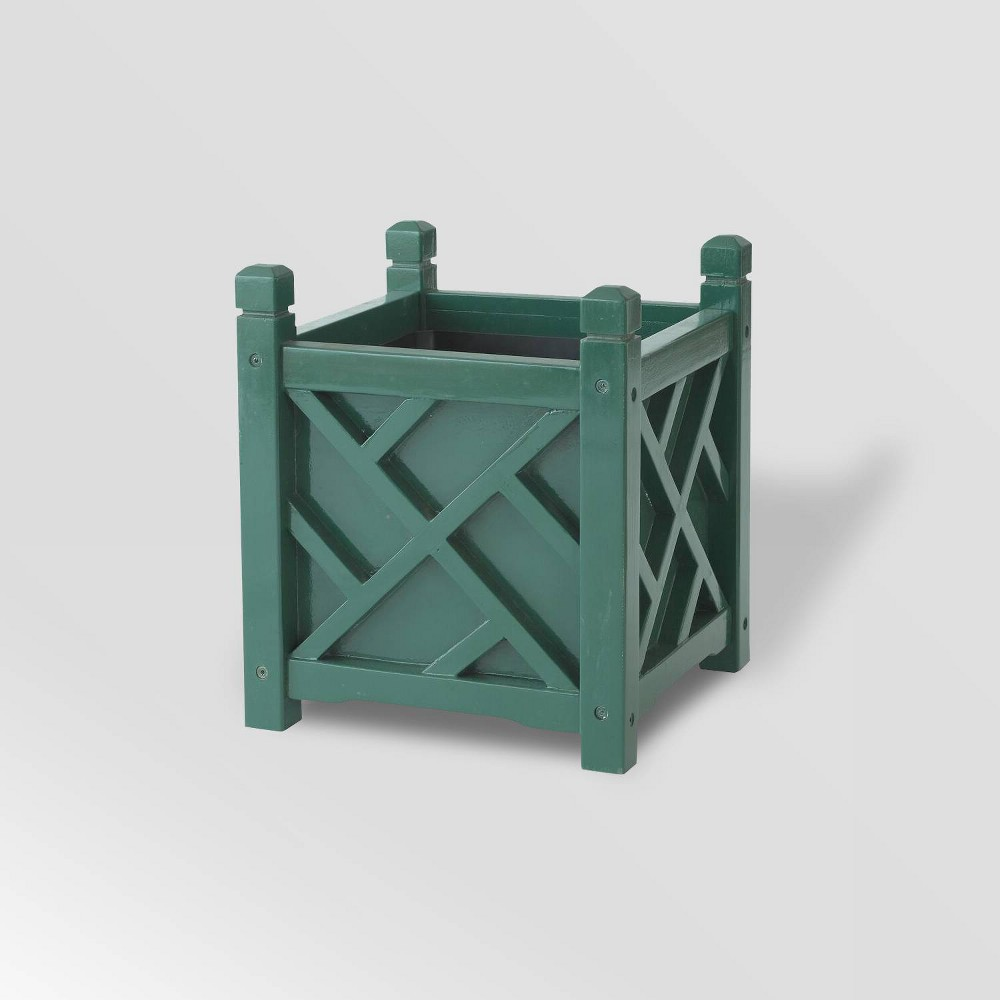 "Image of ""16"""" Wooden Lexington Square Planter Hunter Green - DMC Products"""