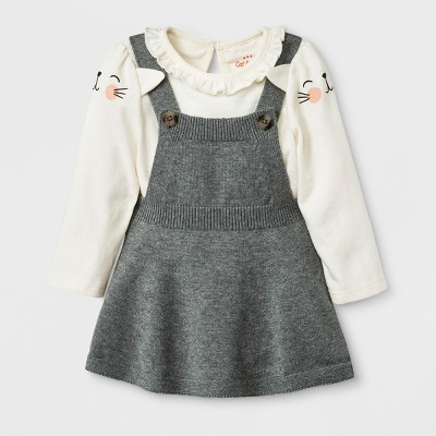 4d5628d449e6 Baby Girls  Long Sleeve Bodysuit with Sweater Skirtall - Cat   Jack ...