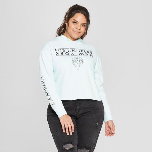 afc8ed52 Women's Plus Size LA/New York Cropped Hooded Sweatshirt - Mighty Fine  (Juniors') Blue