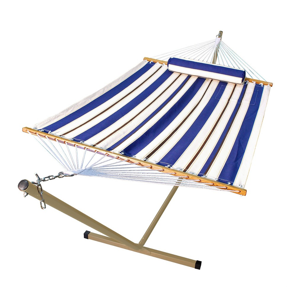 Image of 12 Foot Fabric Hammock with Steel Frame and Matching Pillow, Blue
