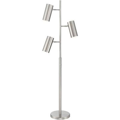 Possini Euro Design Mid Century Modern Floor Lamp Tree 3-Light Brushed Nickel Cylinder Shade for Living Room Reading House Bedroom