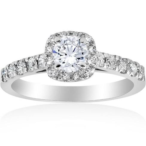Pompeii3 1ct Cushion Halo Diamond Engagement Ring 14K White Gold - image 1 of 4